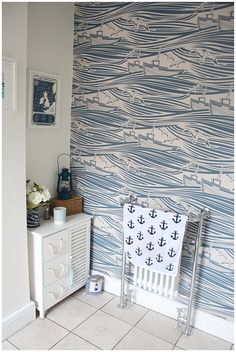 The before and after of my nautical bathroom. How we went from 'weeing in an orange' to nautical chic!