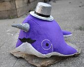Narwhal Plush - with Mustache and Monocle - Medium - MADE TO ORDER (Choose colors). $34.00, via Etsy.
