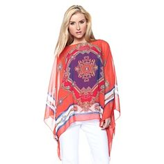 DG2 Scarf-Print Chiffon Poncho and Cami Set at HSN.com.