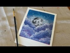 A tutorial of myself painting a moon with a beautiful, spacey background with acrylic paints. Moon Painting, Art Tutorials, Acrylics, Make It Yourself, Easy, Cute, Youtube, Kawaii, Acrylic Nails