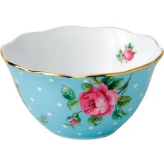 ROYAL ALBERT Polka Blue Vintage small bowl 11cm ($23) ❤ liked on Polyvore