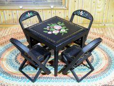 RARE Renwal BLACK CARD TABLE & CHAIRS Vintage Dollhouse Furniture Ideal Marx #Renwal