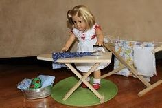 """18"""" Doll: Folding Ironing Board ~ So many cute ideas on this site! Note - tools required for this one :)"""