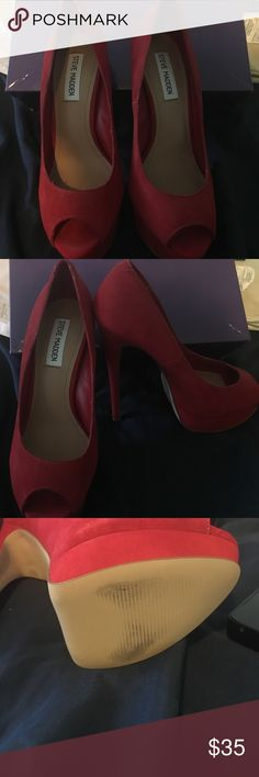 Steve Madden Heels Only worn once!! Red suede platform heels!! They are a little narrow. Steve Madden Shoes Heels