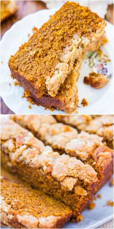 Soft Vegan Pumpkin Bread with Brown Sugar Streusel Crust - You won't miss the eggs or the butter! I'm not vegan, but I had this for Thanksgiving and it was the best pumpkin bread I've ever had Vegan Treats, Vegan Foods, Vegan Desserts, Just Desserts, Dessert Recipes, Health Desserts, Dessert Bread, Health Foods, Pumpkin Recipes