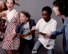 Sadie Sink, Millie Bobby Brown, Noah Schnapp, Caleb McLaughlin, and Finn Wolfhar… - Germany 2019 Stranger Things Have Happened, Cast Stranger Things, Stranger Things Netflix, Millie Bobby Brown, Duffer Brothers, Should I Stay, Noah, Sadie Sink, I Call You