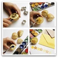 Wrapping paper made with potato stamps