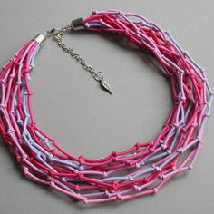 COLORIKA jewellery , Knot necklace silver , Pink jewelry, Tribal pink necklace,