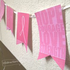 DIY Breast Cancer Awareness Banner Decor - Free Printable - 100 Directions
