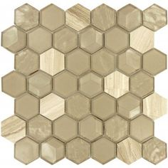 Nimbus Cloud Hexagon taupe Glossy Glass & Stone Tile