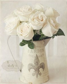 Blanc du Jardin- White roses in a sweet French tin pitcher. Beautiful art print for any room! Lightly textured image. Fine Art Print - Professionally printed upon order. My photographs are professiona #frenchcountrykitchens