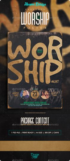 Worship Night - Poster Template PSD. Download here: http://graphicriver.net/item/worship-night-poster/14934069?ref=ksioks