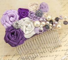 Bridal Hair Comb Fascinator in Purple, Lilac and Ivory with Handmade Satin Flowers, Jewels, Crystals and Czech Pearls