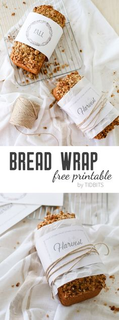 Gift your homemade breads with a little special something this Fall! Enjoy my bread wrap free printables + 25 free Fall printables made by my friends. Bread Gifts, Bread Packaging, Fall Crafts For Kids, Fall Baking, Food Labels, Packaging Design, Packaging Ideas, Gift Packaging, Fall Recipes