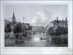 Amsterdam-Groene Burgwal | Herkomst : J.L. Terwen - Het Koningrijk der Nederlanden, afm. 14 x 20 cm Staalgravure 1860