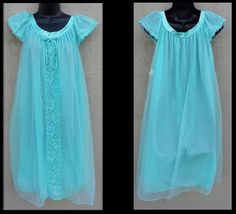 Modest Turquoise Nightgown Vintage 1970s Mint With Tags Size Large