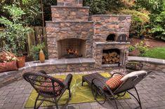 Outdoor Fireplace Designs, Outdoor Patio Designs, Backyard Fireplace, Outdoor Kitchen Design, Backyard Patio, Fireplace Ideas, Outdoor Fireplaces, Custom Fireplace, Patio Ideas