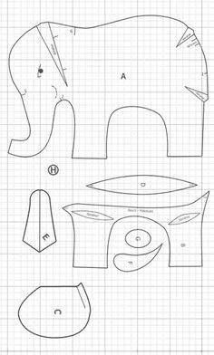 elefanten schnittmuster Sewing Art, Sewing Toys, Sewing Crafts, Sewing Projects, Elephant Template, Elephant Pattern, Sewing Stuffed Animals, Stuffed Animal Patterns, Animal Sewing Patterns