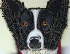 Intricately cut Border collie Card any occasion by CardNotions
