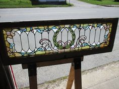 ~ ANTIQUE AMERICAN STAINED GLASS TRANSOM WINDOW 53.5 x 18 ARCHITECTURAL SALVAGE