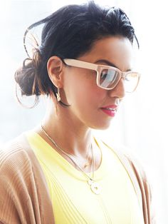 We LOVE these pale frames worn by @Too Faced Cosmetics' Director of Global Artistry, Kalina Fernandez.