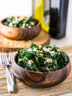 Warm Kale Salad with Goat Cheese, Pine Nuts and Sweet Onion Balsamic Dressing @Katie | Veggie and the Beast