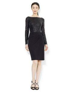 Lauren Ralph Lauren Formal Long-Sleeve Sequined Dress