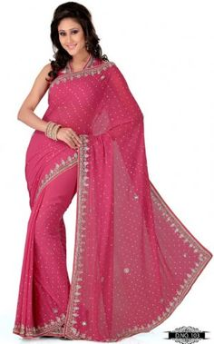 Gajri Pink Color Faux Georgette Bollywood Saree MYS103. Sale : $122.00