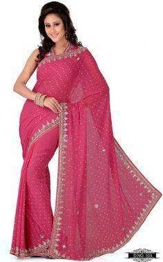 Gajri Pink Color Faux Georgette Bollywood Saree MYS103. Sale : $122.00