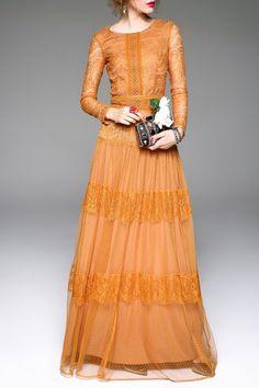 Yellow Lace Cut Out Prom Dress