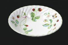 Vintage Old Foley James Kent Strawberry Green Trim Butterflies Cereal Soup Bowl