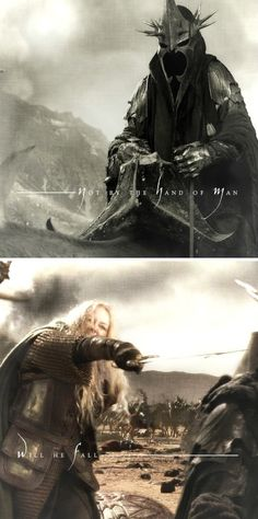Eowyn + The Witch King: Glorfindel, looking into the gathering dark, said: 'Do not pursue him! He will not return to this land. Far off yet is his doom, and not by the hand of m a n will he fall.' #lotr