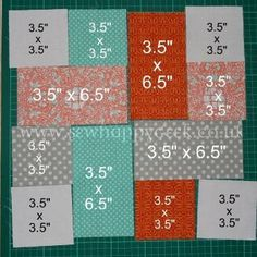 adjust for 6.5 block to 2x2 small squares/4 inch long blocks