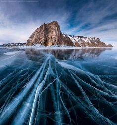 Cracked ice, Lake Baikal, Russia.