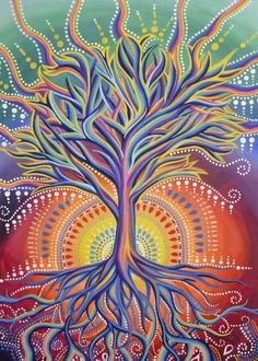 Art Hippie, Hippie Life, Tree Art, Tree Of Life Artwork, Tree Of Life Painting, Psychedelic Art, Oeuvre D'art, Painting Inspiration, Painting & Drawing