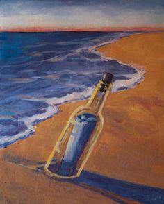 Message in a Bottle Bottle Drawing, Bottle Painting, Sea Drawing, Summer Painting, Paint And Sip, Message In A Bottle, Learn To Paint, Animal Paintings, Wine Glass