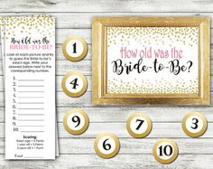 Printable fun and interactive game for your bridal shower! With this fun game your guests will guess the age of pictures presented at the shower. The pictures can be displayed as a collage on a poster board or you can use multiple individual frames (not included). You will receive 3 PDF files of: 1. Printable 10 x 8 game sign 2. Printable game cards with instructions. These print 2 per sheet 3. Printable numbers 1-10 for the pictures. Each circle is 2.5 All files are High Resolution PDF…
