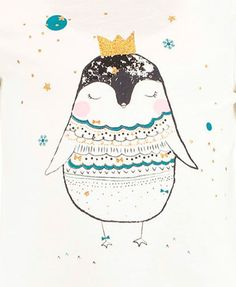 Winter Penguin.  I did this guy for @lcwaikiki kidswear last Christmas.   #character #cute #fabric #christmas #penguin #illustration #gold #kidswear #instaart #instadaily #freelance #winter