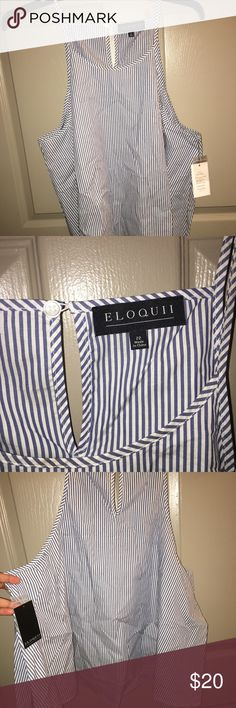 Eloquii striped sz 22 crop top This is an eloquii branded crop top size 22. New with tags. Non smoking home. The crop top is in good condition and is blue and white striped. Eloquii Tops Camisoles