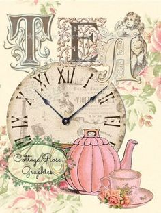 Decoupage Vintage, Vintage Ephemera, Vintage Tea, Vintage Cards, Vintage Paper, Vintage Cupcake, Vintage Pictures, Vintage Images, Tee Kunst