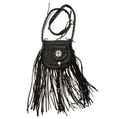 black fringe leather bag