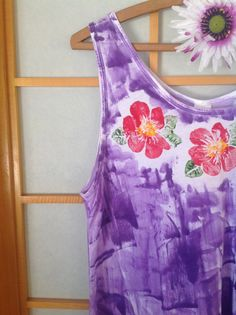 RTS Wearable Art: Hand Painted Sleeveless Handkerchief Hem Tunic Top s - 2X now in RED
