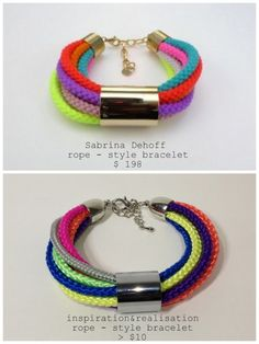 DIY Five Minute Anthropologie Corded Bracelet. You can find the original for $198here. This bracelet uses plumbing supplies. Tutorial from inspiration & realisation here.*Check out the one made with fancier rope.
