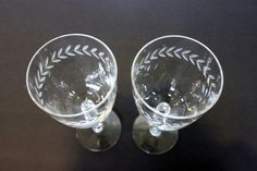 pair of etched crystal water or wine glasses // by umbrellafant, $25.00