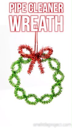 These easy pipe cleaner wreath ornaments are so pretty and SO EASY. Make a homemade Christmas ornament in less than five minutes with only 3 pipe cleaners! Christmas Decorations For Kids, Christmas Crafts For Kids To Make, Christmas Ornament Crafts, Homemade Christmas Gifts, Holiday Crafts, Christmas Diy, Easy Ornaments, Holiday Wreaths, Christmas Crafts Pipe Cleaners