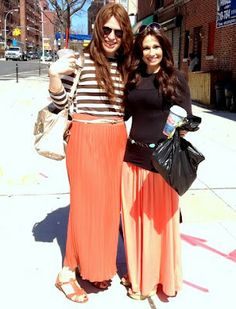 2 different body types wearing maxi skirts equally precious! :) Like mama and I :) @tracy