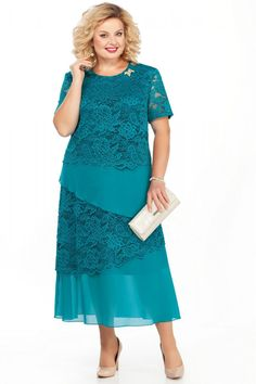 Платье Pretty 908 бирюзовый Mother Of Groom Dresses, Mother Of The Bride, Plus Size Dresses, Plus Size Outfits, Bridal Dresses, Women's Dresses, Green Dress, Plus Size Women, Plus Size Fashion