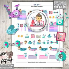 Fitness Stickers, Planner Stickers, Spinning Stickers, Erin Condren, Kawaii Stickers, Planner Accessories, Workout, Exercise Stickers