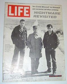 """Truman Capote acompaña a los actores de su obra-reportaje """"A sangre fría"""" en el lugar del crímen, Kansas. Tapa de """"Life"""" del 12 de mayo de 1967"""