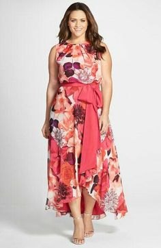 Plus size floral printed dress